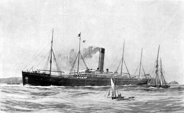 Illustration of the Steamship 'Warwickshire', the latest addition to the Bibby Line, 1902. Built by Harland and Wolff, Belfast, the 'Warwickshire' gave service on the passenger service from Britain to Marseilles, Egypt, Ceylon