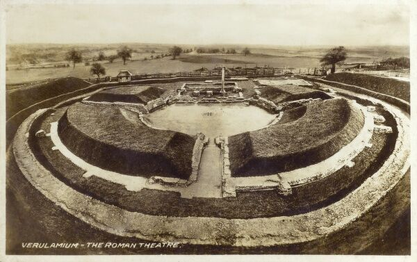 St Albans - Verulamium - The Roman Theatre, one of the best preserved in the UK. Date: 1910s