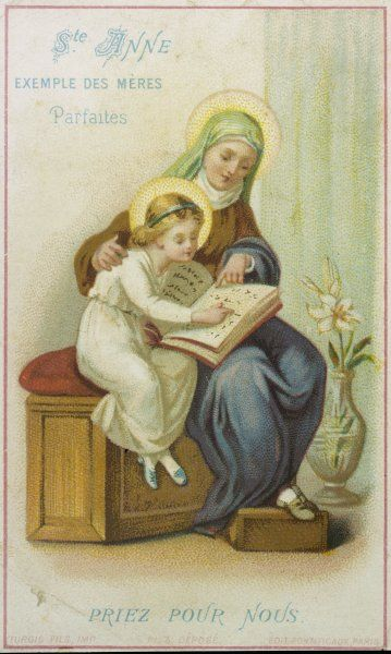 Saint Anne teaches Mary, the future mother of Jesus, to read from a book of a type which will not come into use until the 2nd century AD