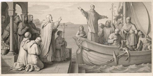 SAINT BONIFACE (Wynfryth, of Crediton) departing from England to undertake missionary work in Germany, on behalf of Pope Gregory II