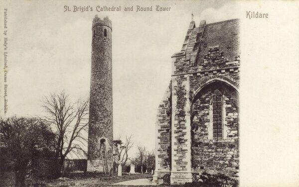 St Brigid's Cathedral and Round Tower, Kildare, County Kildare, Ireland. The cathedral was built by the Norman Bishop Ralph of Bristol in 1223. The Round Tower is one of the finest surviving examples and, at 33 metres, the second highest in Ireland