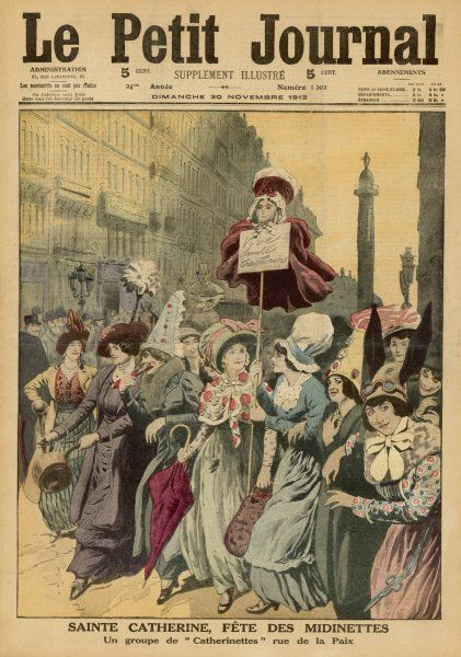 Saint Catherine's Day is a holiday for Paris shopgirls - a procession of cheerful 'Catharinettes' in the rue de la Paix