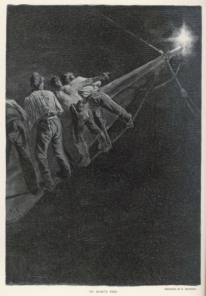 Sailors in the rigging alarmed by the appearance of St Elmo's Fire at the tip of a spar