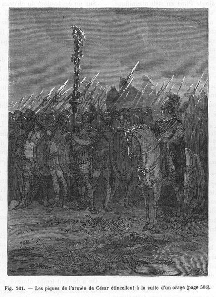 Julius Caesar reports that his soldiers, during a campaign in North Africa, were alarmed when the tips of their spears began to glow after a storm