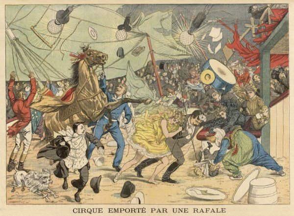 At St. Etienne, a circus tent (the big top) is carried away by a high wind, causing chaos inside, as animals and humans panic and try to flee