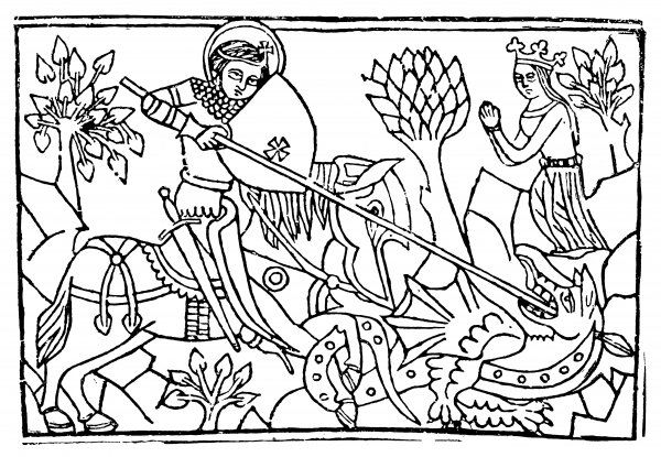 SAINT GEORGE On horseback, slaying the dragon, while the princess prays in the background