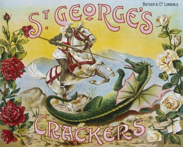 Box of Christmas crackers featuring St George slaying the dragon