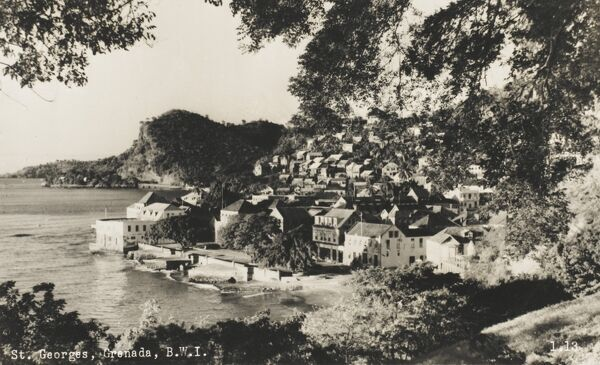A view of the coastal town of St George's, Grenada, British West Indies