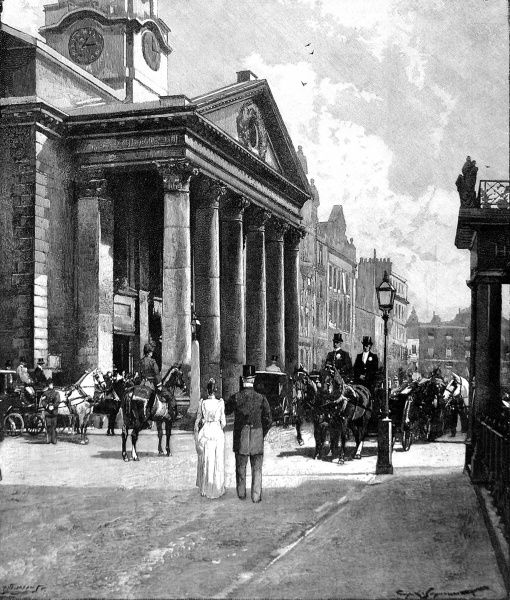Engraving showing a street scene outside St. George's Church, Hanover Square, London, 1895