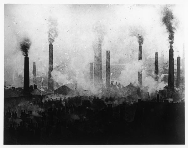 St Helens, Lancashire: factory chimneys belching out smoke