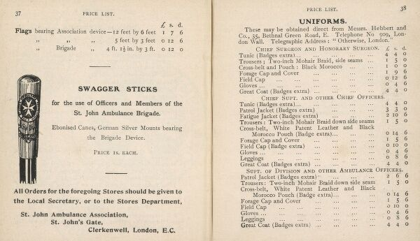 A swagger stick and details of uniforms, with prices, for members of the St John's Ambulance -- with military overtones