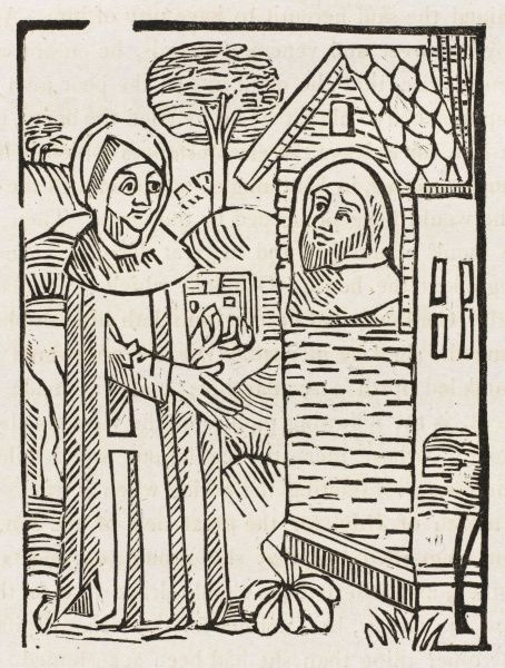 Saint John the Egyptian, imparts wisdom to a pilgrim visitor (illustration from Wynkyn de Worde's 1495 edition of 'Vitas Patrum')
