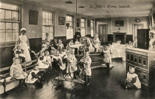 Children and nurses at the St John's Children's Home on Bloomfield Street in Ipswich, Suffolk