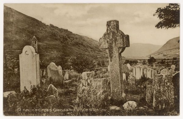 'St. Kevin's Cross', and other ancient headstones, within the 6th century monastic settlement known as 'St. Kevin's Kitchen', Glendalough, County Wicklow, Ireland