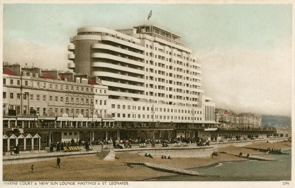 The Art Deco splendour of Marine Court and New Sun Lounge, St Leonards-on-Sea, East Sussex. The building was completed in 1937 and was for a time the tallest block of flats in the United Kingdom