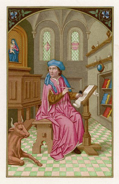 SAINT LUKE depicted in the act of writing the Gospel which bears his name