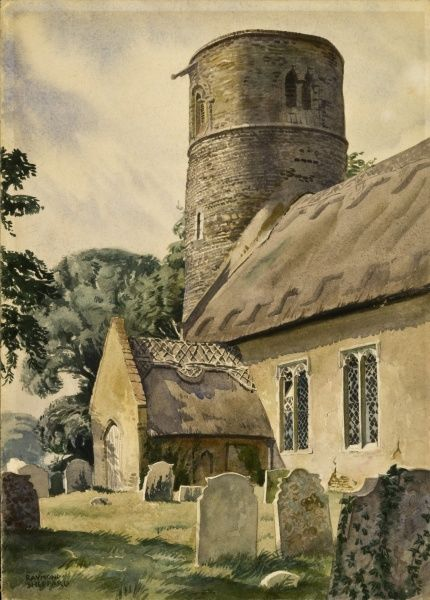 St Margaret's Church, Herringfleet, Suffolk. A fine example of a Norman round tower parish church. Painting by Raymond Sheppard