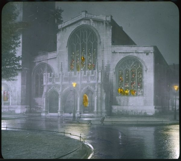 A view of the church, in Westminster, at night