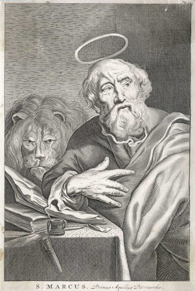 SAINT MARK THE EVANGELIST Saint Mark shown writing his gospel. His symbol, the lion stands behind