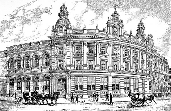 Illustration showing the exterior of St. Martin-in-the-Fields Townhall, London, 1890