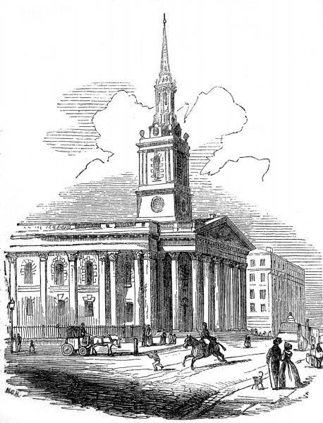 Engraving showing the exterior of the church of St. Martin's-in-the-Fields, London, 1842