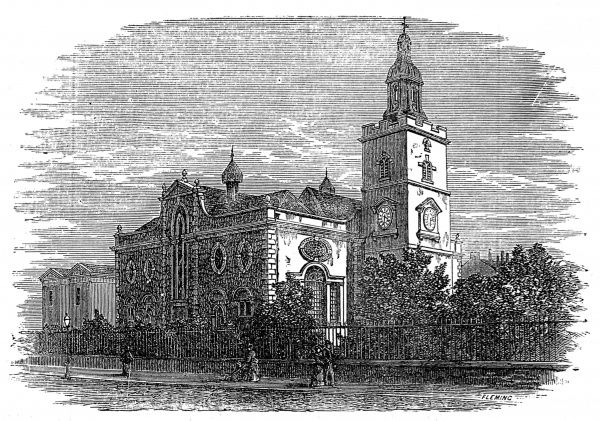 Engraving showing the church of St. Mary Matfelon in the High Street of Whitechapel, London, c.1875