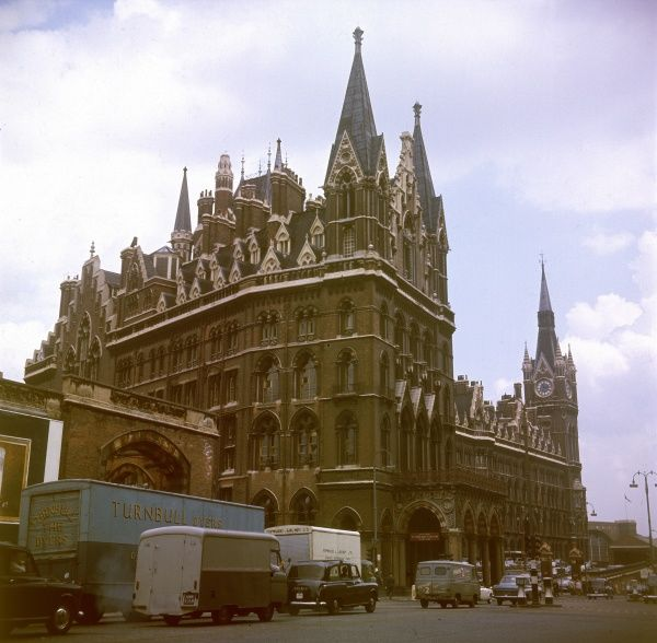 St. Pancras Station and Hotel, a fine example of Victorian Gothic architecture. The hotel was added to the front of the station between 1868 and 1874, by the architect Gilbert Scott Date: built 1868 - 1874