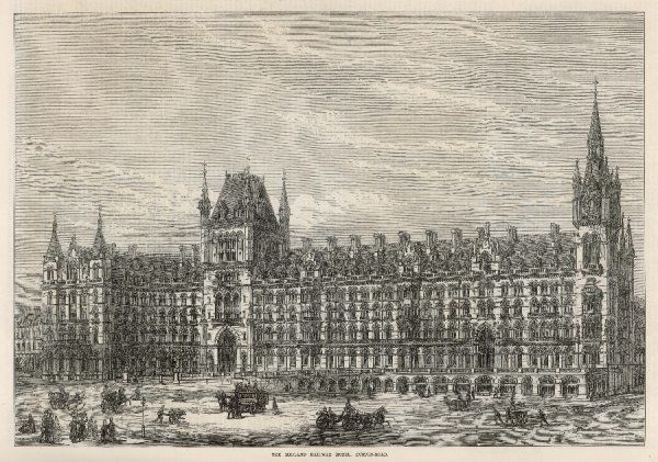 General view of the exterior of St Pancras Station, facing Euston Road, Central London