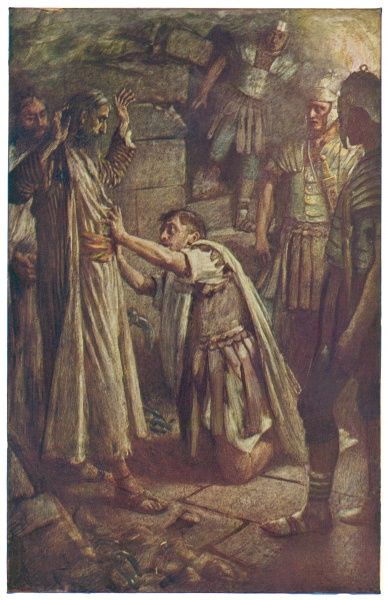 The Philippian jailor falls down on his knees before St Paul and Silas and asks what he must do to be saved. (Acts XVI: 16-34)