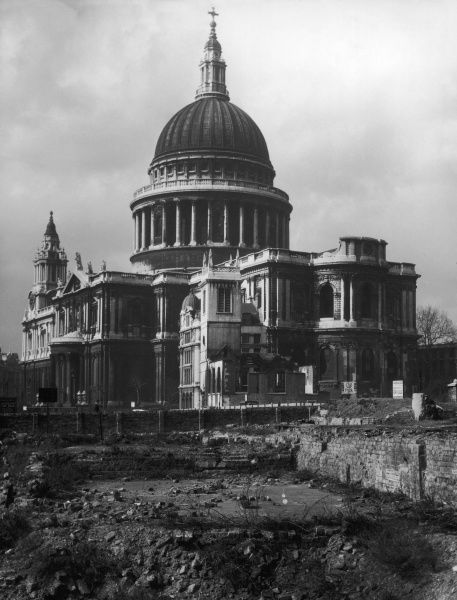 A bomb site next to St. Paul's Cathedral, London, seen from Bread Street after the World War Two Blitz