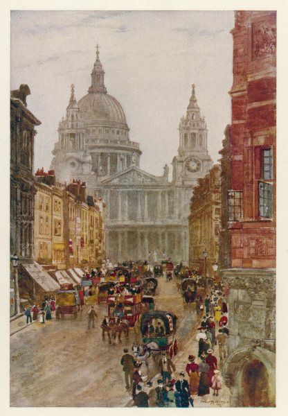 Scene in Ludgate Hill, London, leading up to St Paul's Cathedral