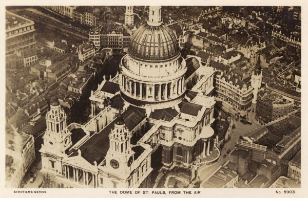 An aeriel photograph of St Paul's Cathedral, London. Date: 1930