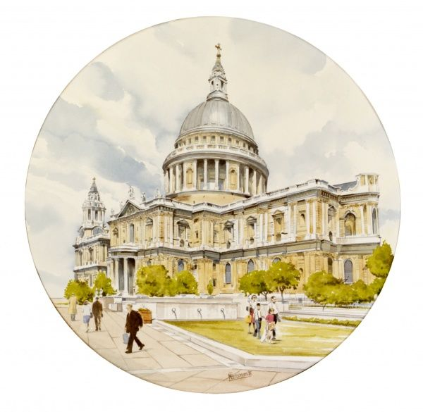 A painting by Malcolm Greensmith of St Paul's Cathedral. This fine example of post-medieval architecture, built following the destruction of the medieval church in the Great Fire of 1666, was designed by Sir Christopher Wren