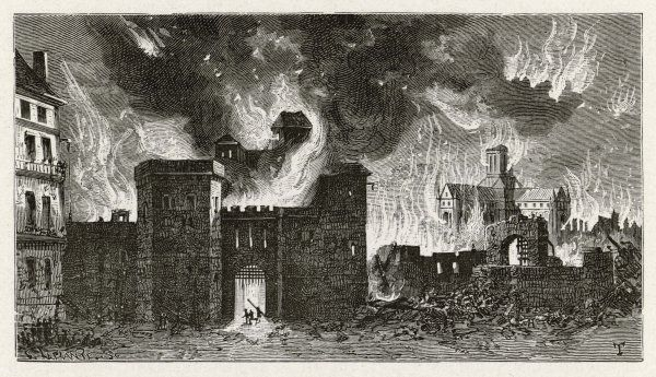 In the distance, old Saint Paul's cathedral goes up in flames