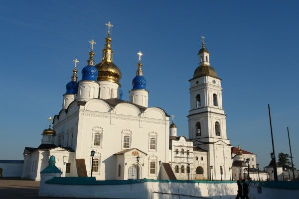 View of the Russian Orthodox Cathedral of St Sophia, with a belfry on the right, in Tobolsk, Siberia, Russia. The building was completed in 1686