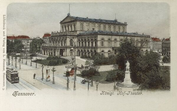 Staatsoper Hannover is an opera house (and opera company) in Hanover, Germany, bult between 1845 and 1852. Date: circa 1900