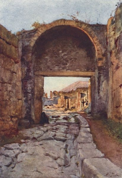 Pompeii: The Stabian gate. The rutted road is testament to the action of carts on the paved surface. Date: 1910