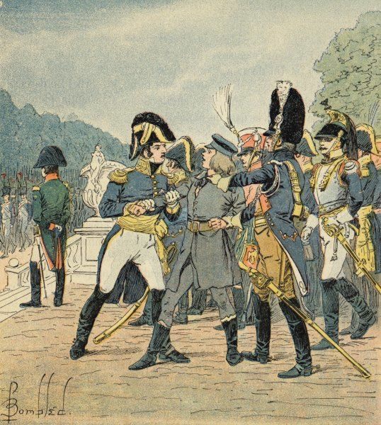 At a parade at Schonbrunn, Stabs has a stab at stabbing Napoleon but is caught ; he says his motive is to end the fighting