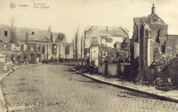 Staden, Belgium - the Ypres Road, showing heavy bombing damage caused during WWI Date: circa 1919