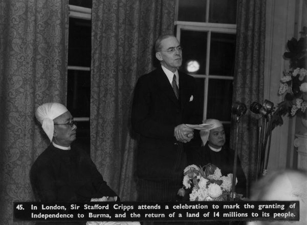 Sir Stafford Cripps attends a celebration to mark the granting of the Independence of Burma in 1948.  1948