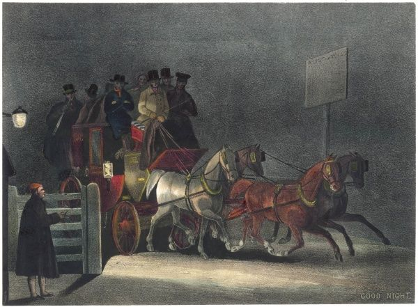 "A stagecoach passing through a toll gate at night entitled ""Good night&quot"