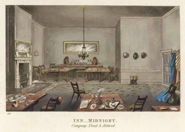 An inn at midnight - the company tired and retired