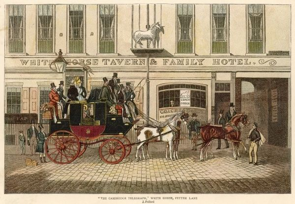 The Cambridge Telegraph stagecoach outside the White Horse, Fetter Lane, London, preparing for departure