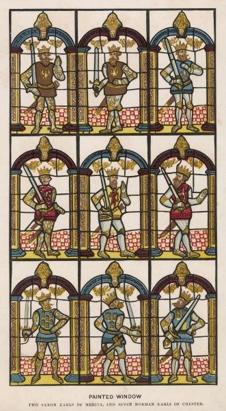 Window depicting the earls of Mercia and Cheshire : regrettably the source indicates neither the location nor when it was done, but Chester cathedral is likely
