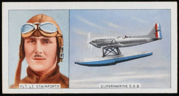 Flight Lieutenant George Hedley Stainforth, British aviator, and the Supermarine S6B in which he exceeded the 400mph speed record in 1931