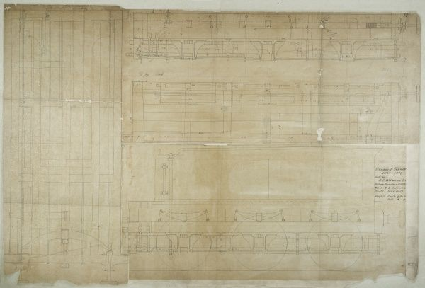 Standard tender built by the E B Wilson Company, plan, elevations and sections Date: 1845