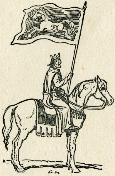 The Standard of the White Horse shown on this flag, carried by a British King, here the sign of a British regiment in the First Century AD. As a symbol, the white horse has been used throughout history for both its beauty and religious symbolism of purity