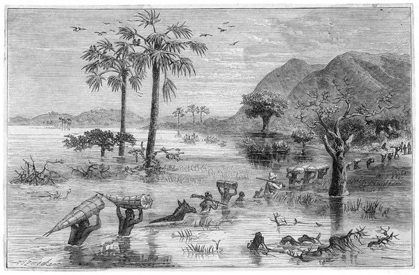 Stanley's expedition in search of Livingstone fords a lake