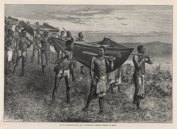 Zaire Expedition : His boat, the 'Livingstone', is carried overland