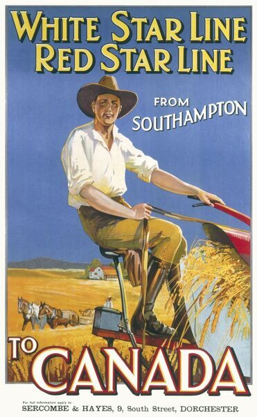 Red Star Line and White Star Line shipping from Southampton to Canada Poster showing a man farming in Canada